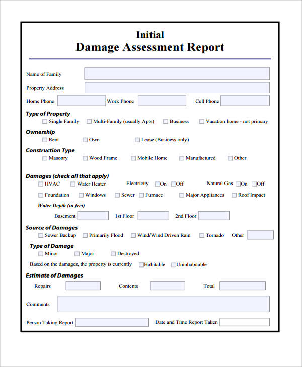 9 Damage Report Example Pdf Examples