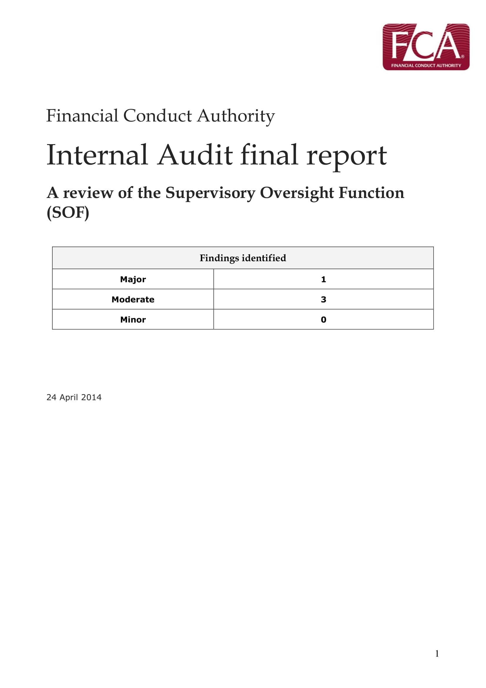 internal audit final report example 1