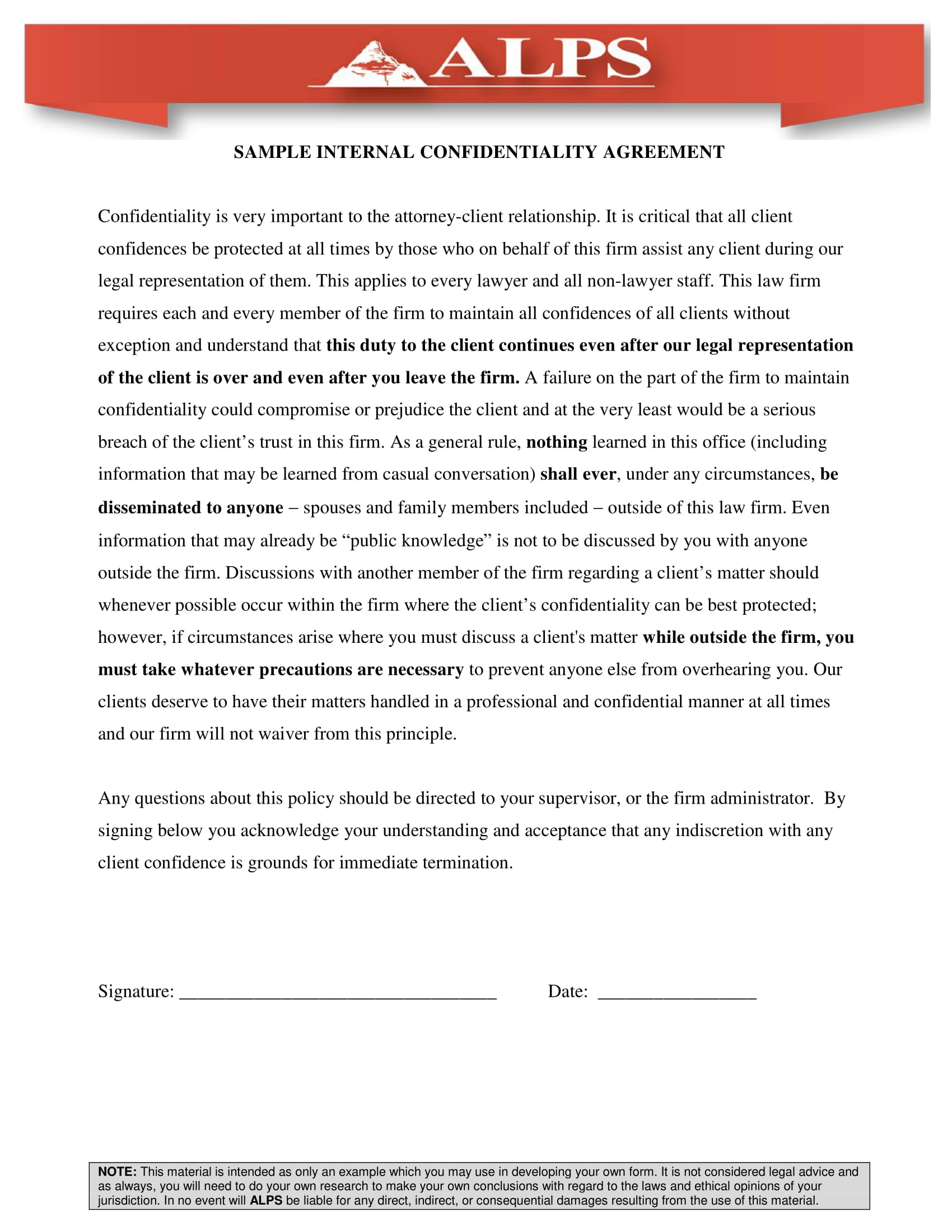 internal client confidentiality agreement example