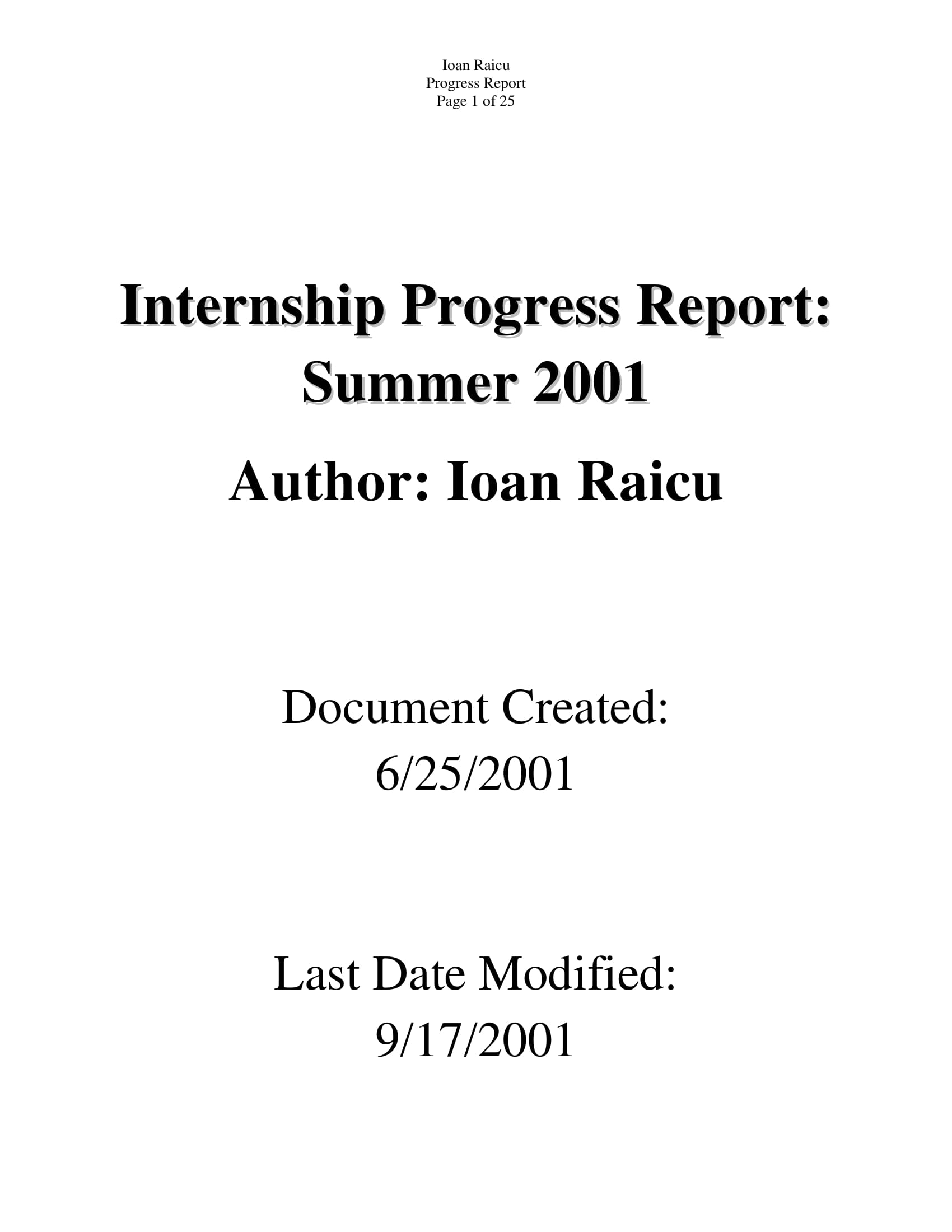 internship weekly operations and progress report example 01