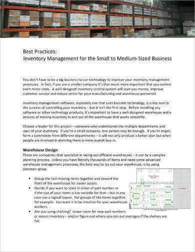 inventory management for the small to medium sized business example