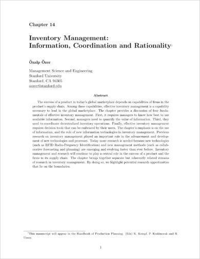 inventory management information coordination and rationality example