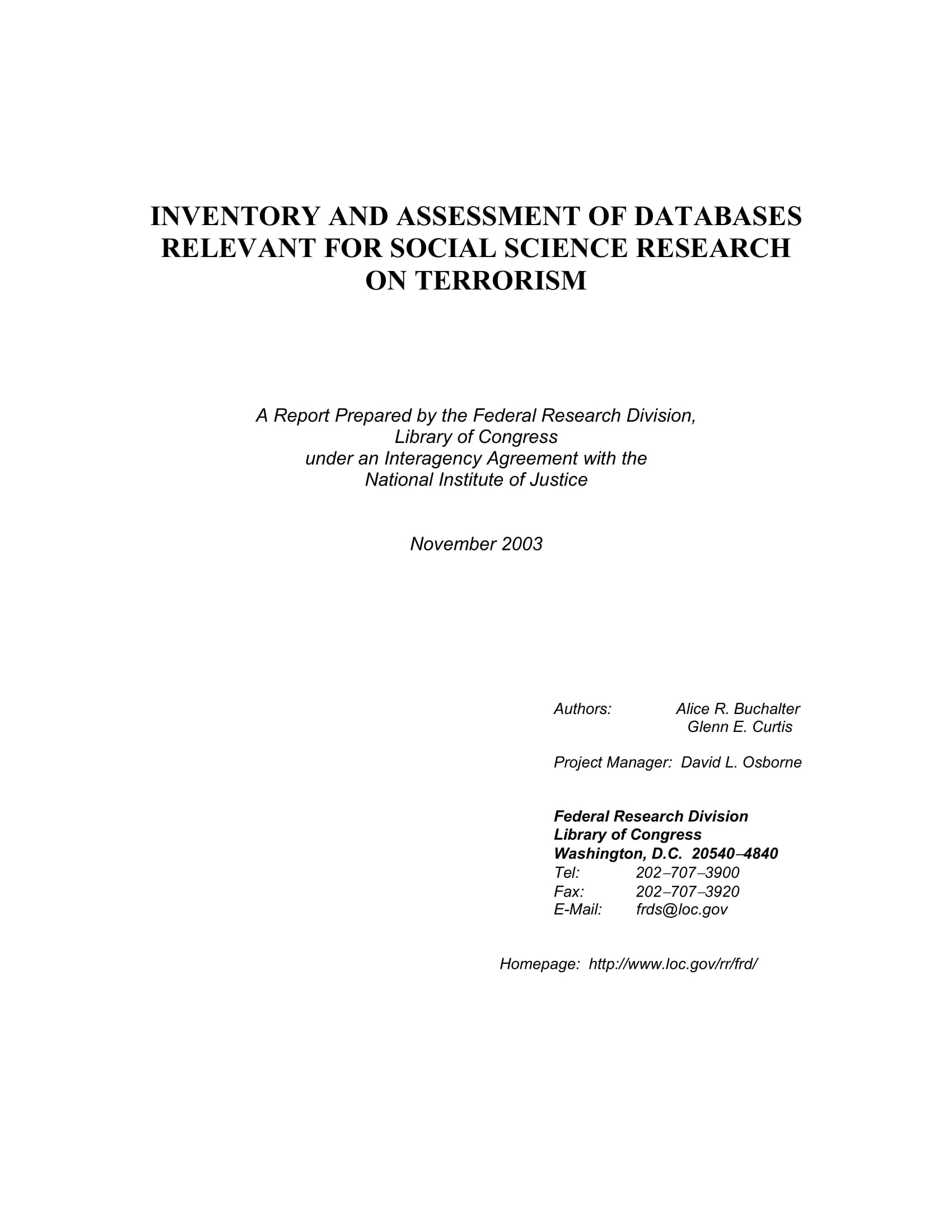 inventory and assessment of databases relevant for social science research on terrorism example 01