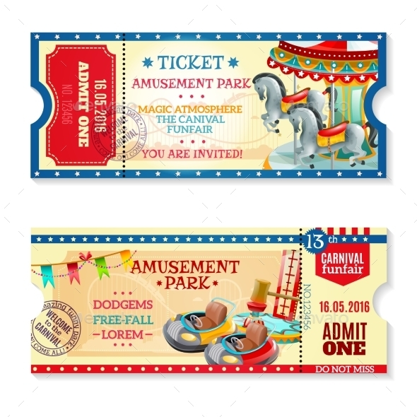 invitation tickets to carnival in amusement park