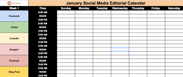 january social media editorial plan example