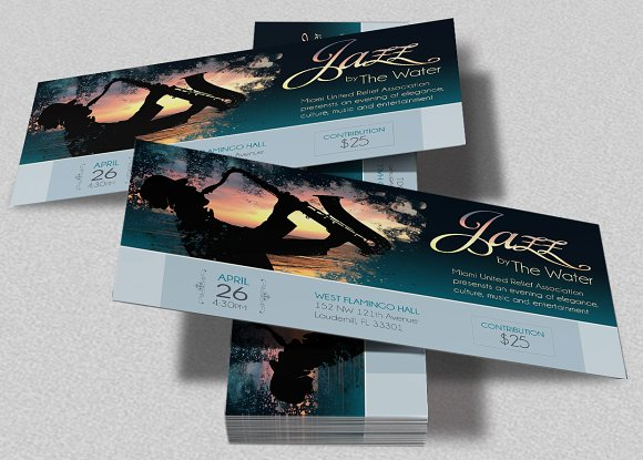 jazz concert event ticket template example
