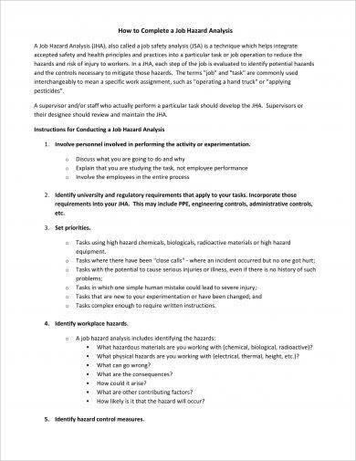 job hazard analysis completion example