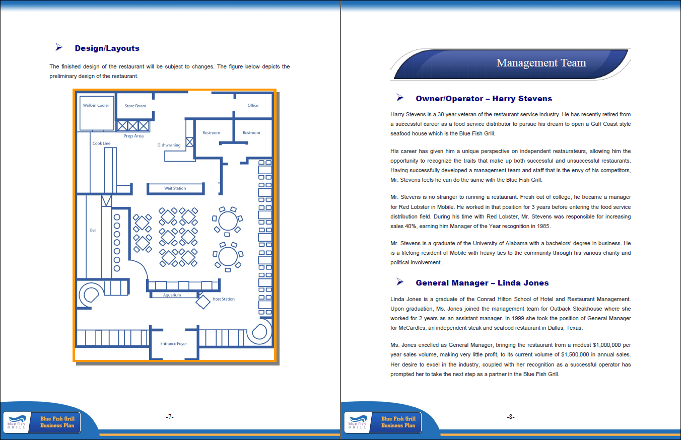 layout and management team restaurant plan example