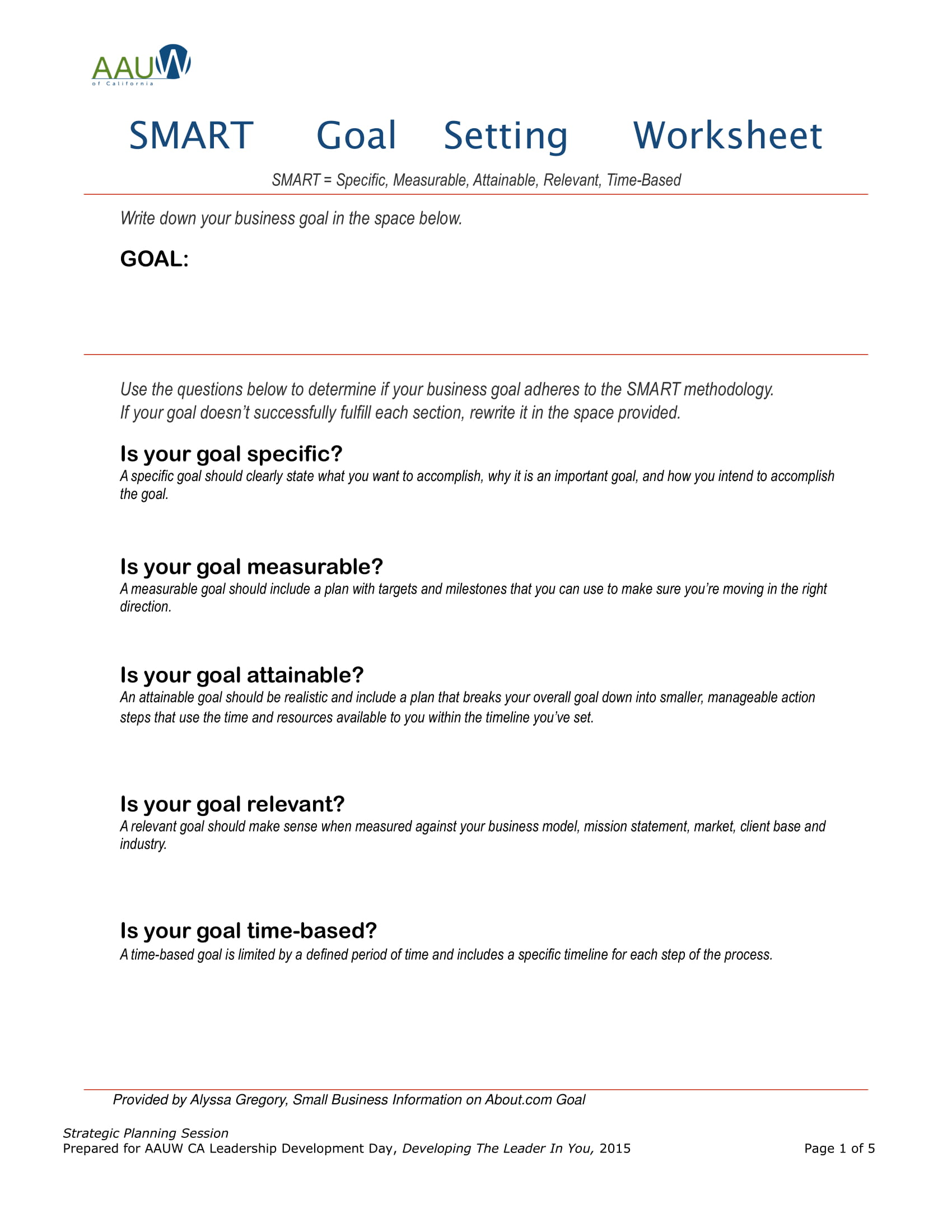 leadership smart goal setting worksheet example
