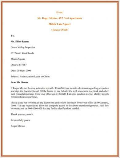 legal authorization letter for claiming sample2