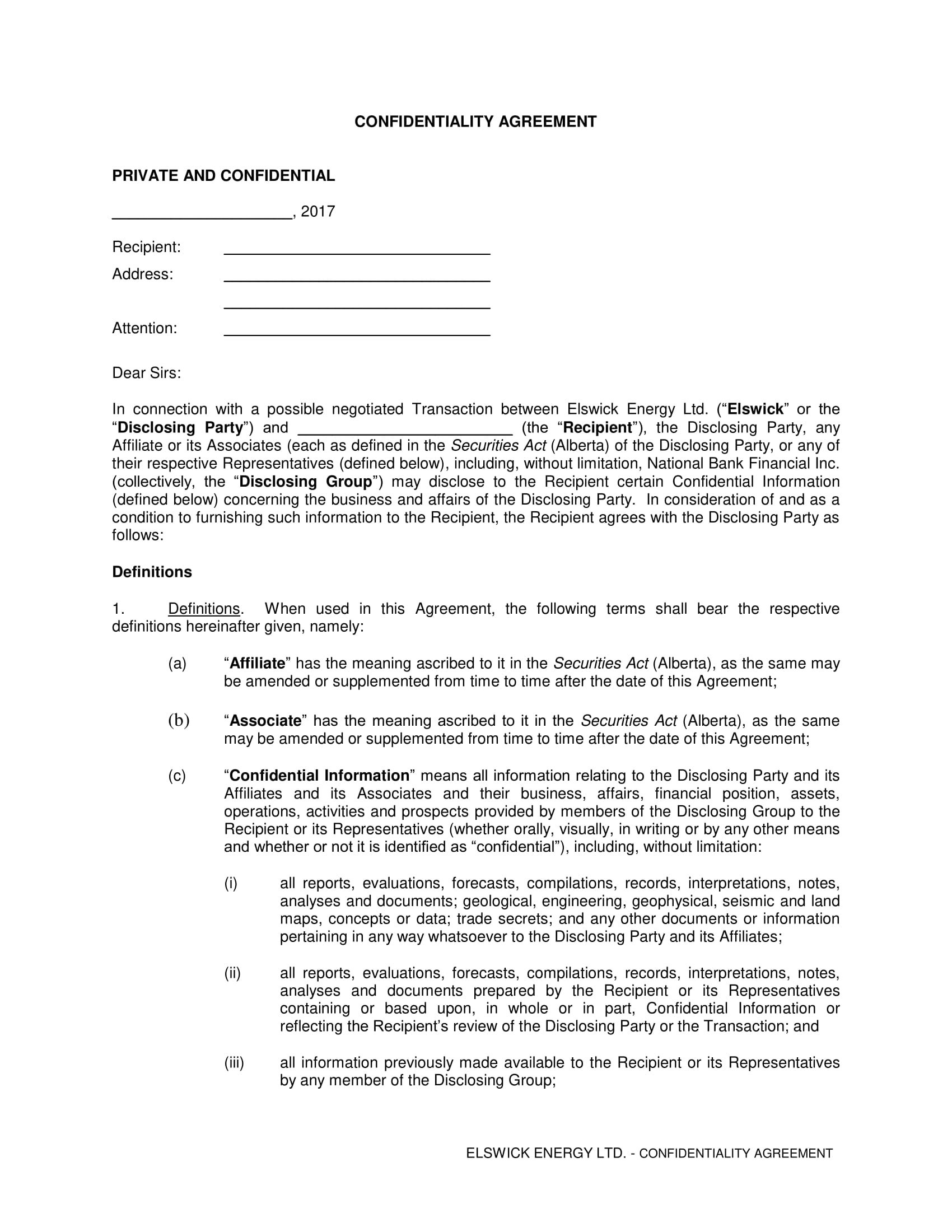 lengthy financial confidentiality agreement example