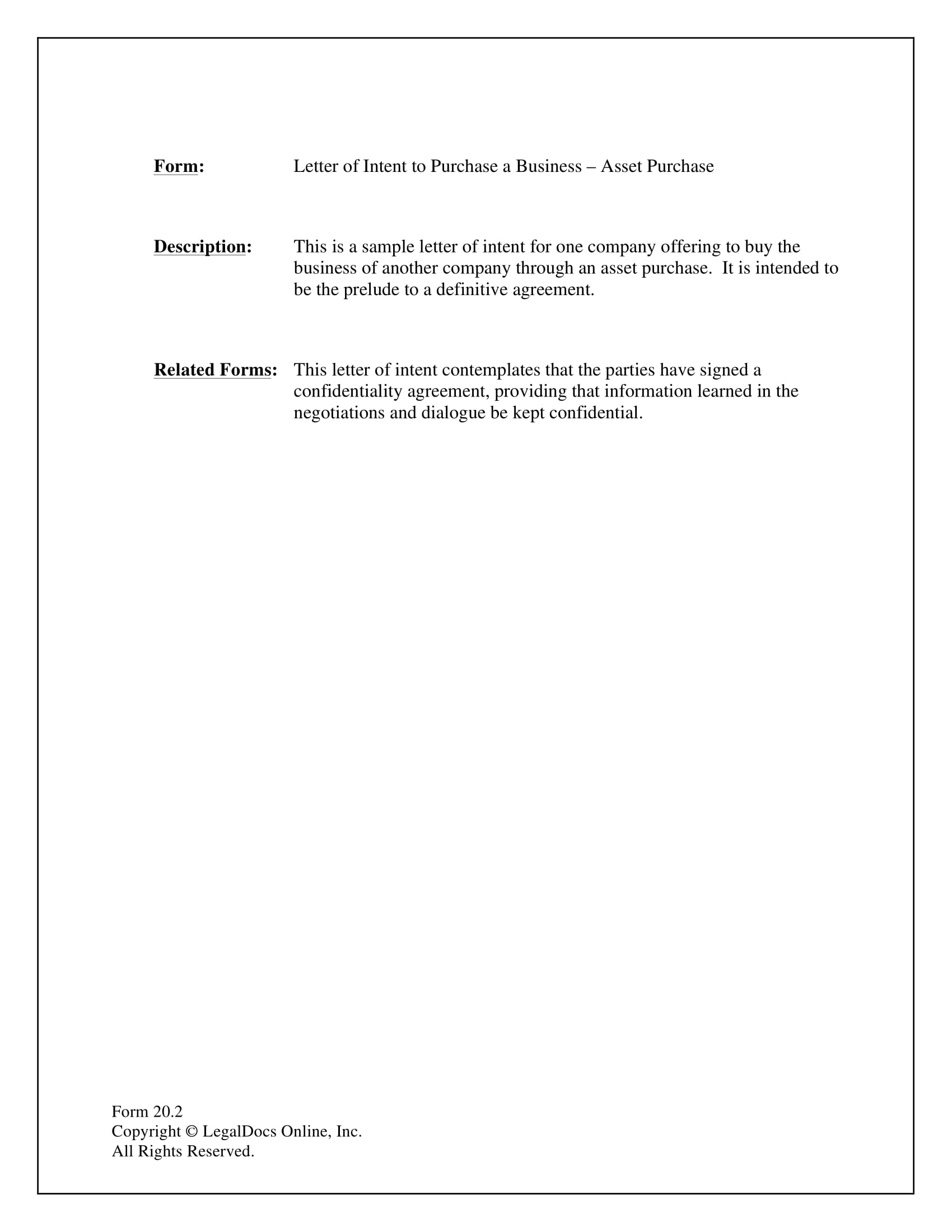 letter of intent to purchase a business example 1