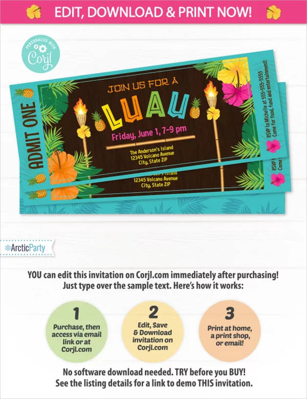 luau summer party ticket invitation design example