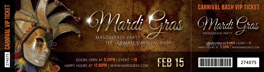 mardi gras carnival party event ticket example