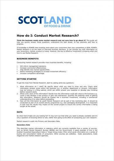 market research conduct and proposal drafting example