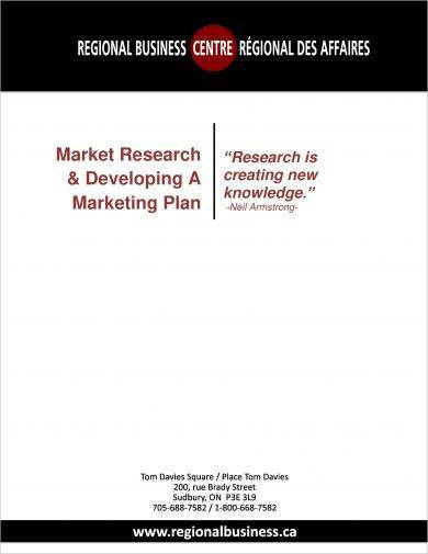 market research and developing a marketing plan proposal example