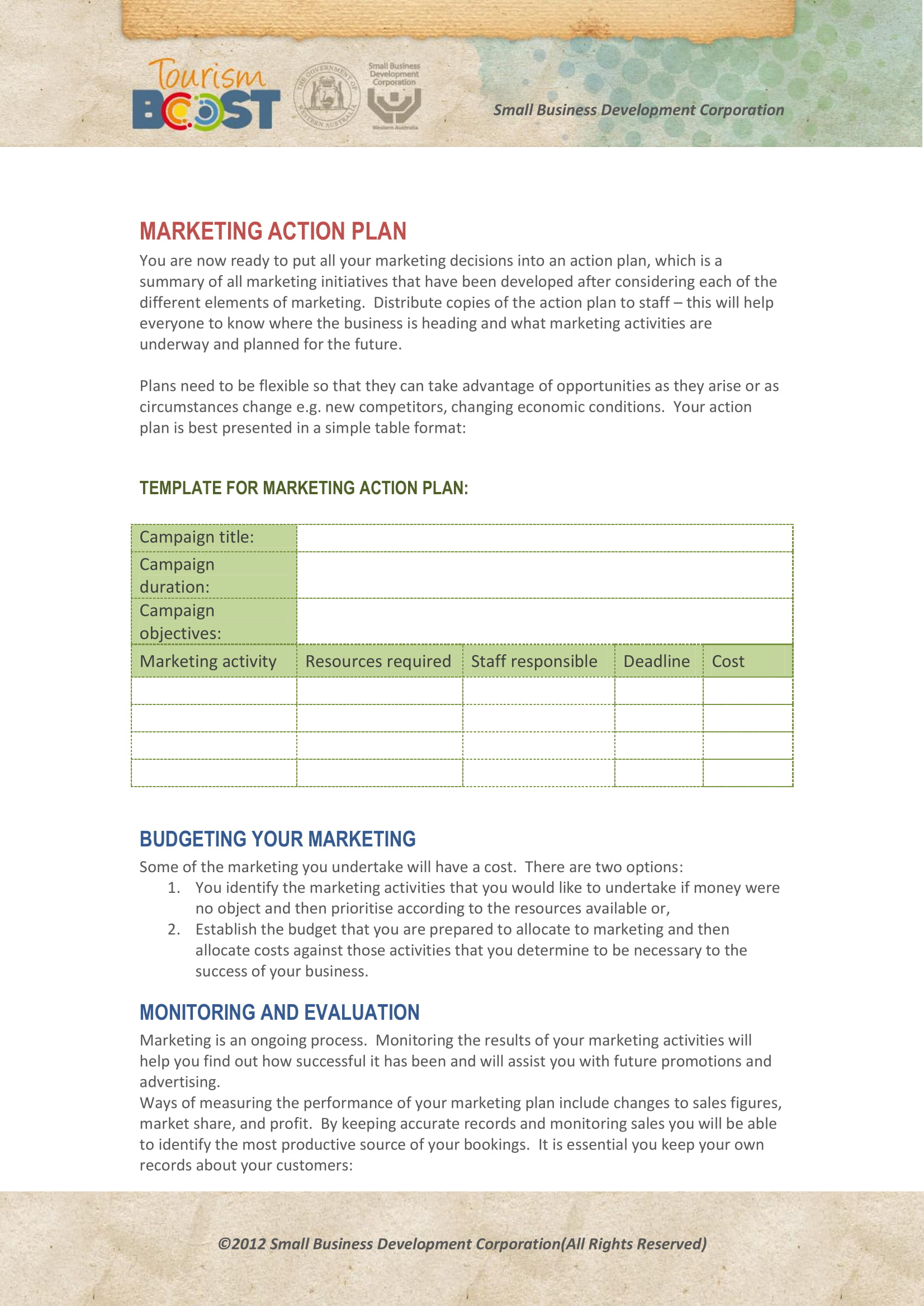 marketing action plan example