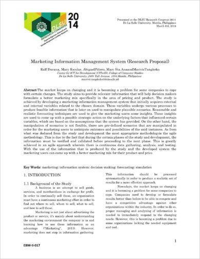 marketing information management system research proposal example