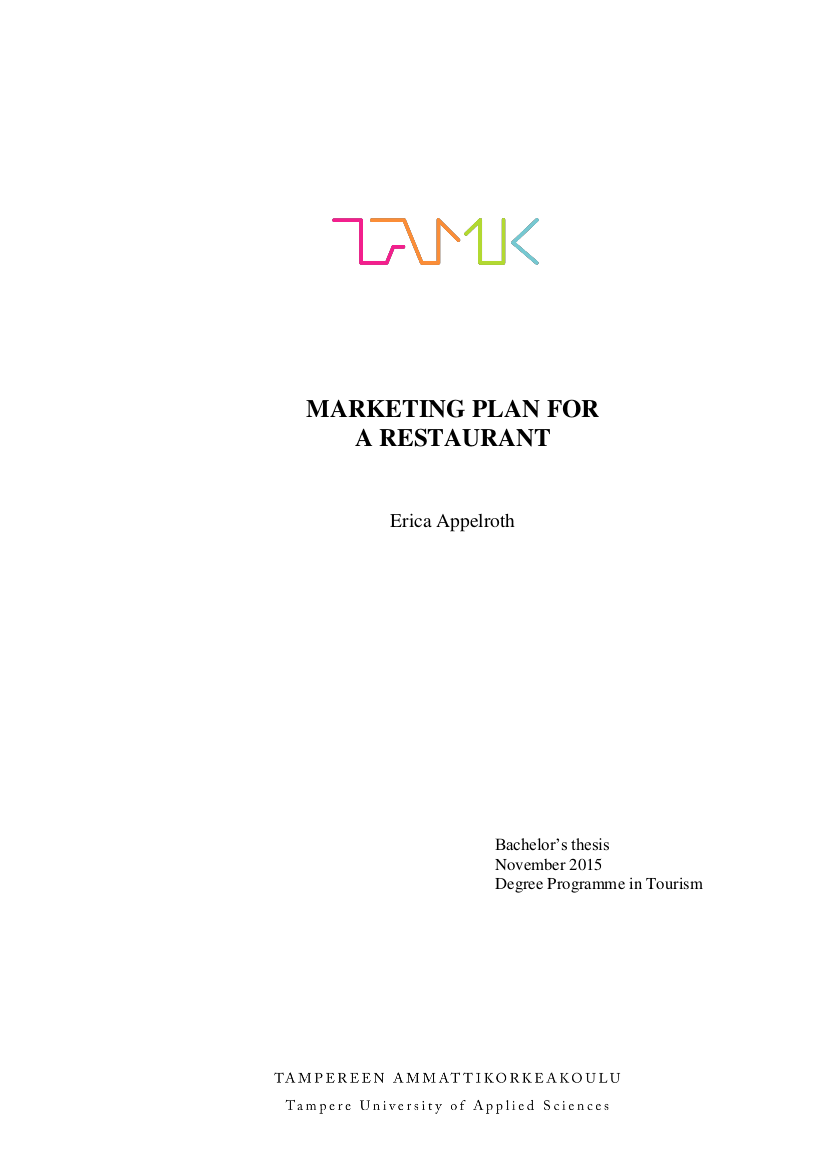 marketing plan for a restaurant