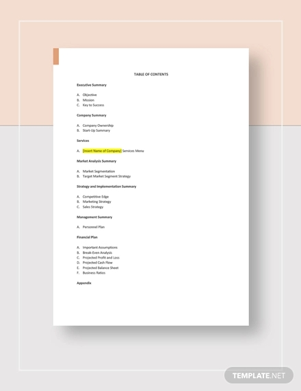 massage therapy business plan template