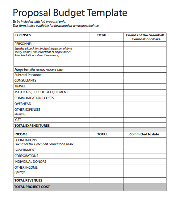 matrix event budget proposal example