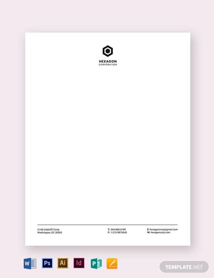 minimal small business letterhead template