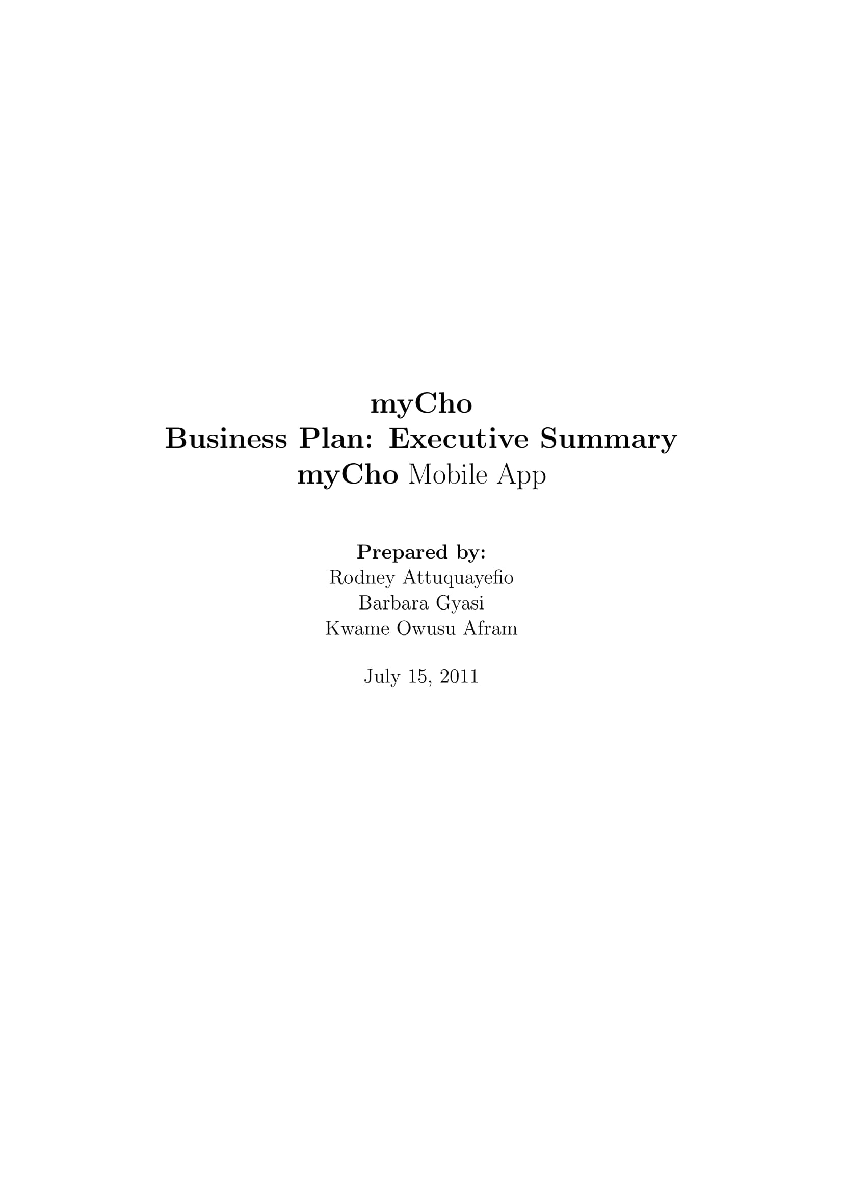 mobile app business plan executive summary example
