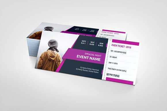 modern event show time ticket example
