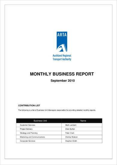 monthly business management report example1
