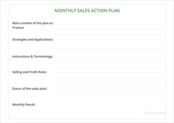 monthly sales action plan example