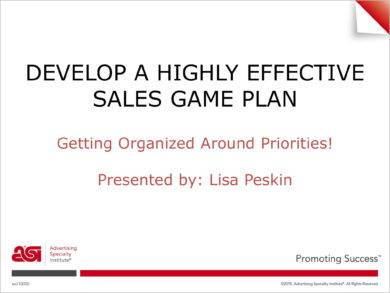 monthly sales game plan example