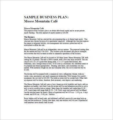 moose mountain cafe sample business plan1