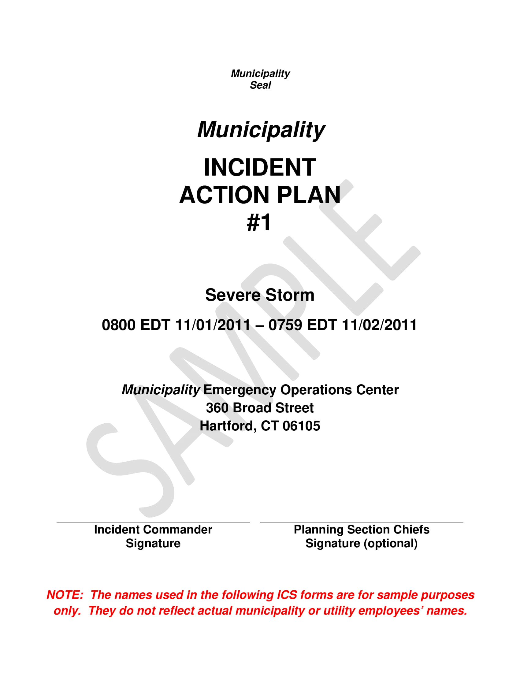 municipality incident action plan template example