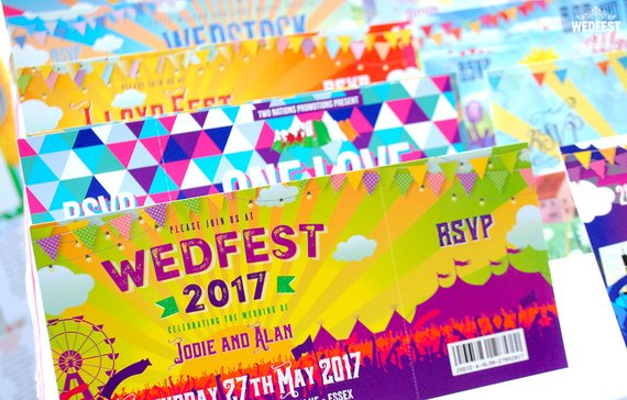 music festival wedding ticket example