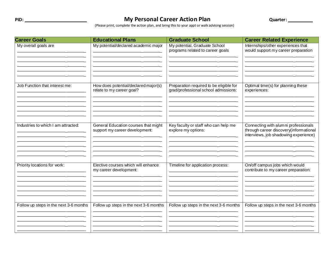 my personal career action plan example