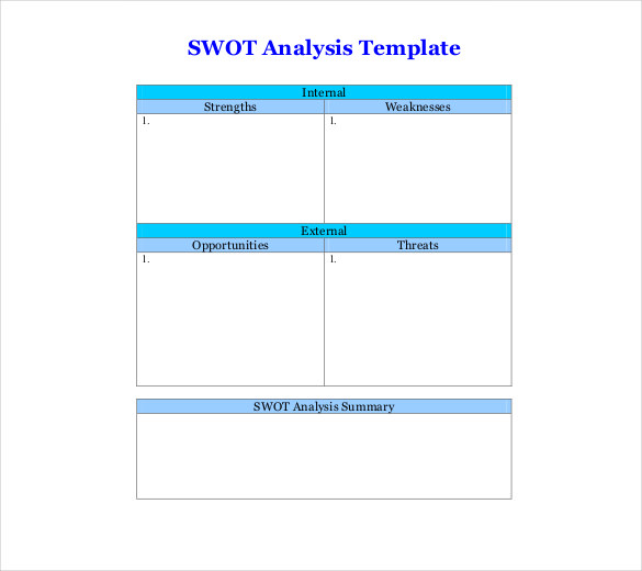 new blank swot analysis example
