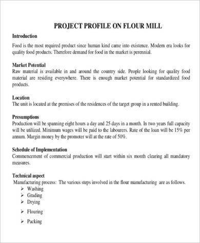 new flour mill project report example