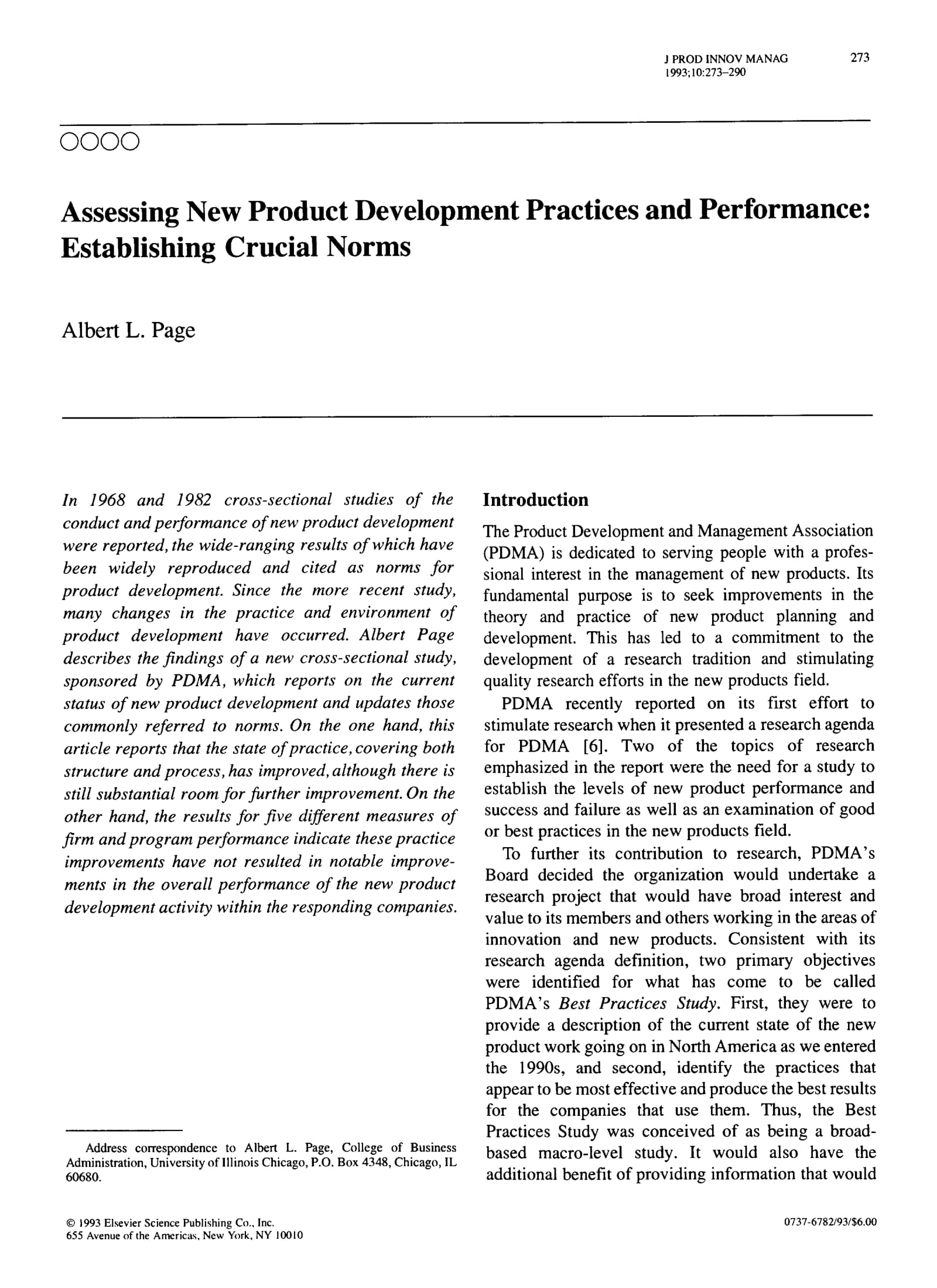 new product development practices and financial analysis example