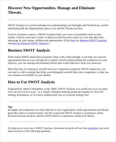 using swot analysis to formulate strategy The tows matrix is a relatively simple tool for generating strategic options by using it, you can look intelligently at how you can best take advantage of the opportunities open to you, at the same time that you minimize the impact of weaknesses and protect yourself against threats.
