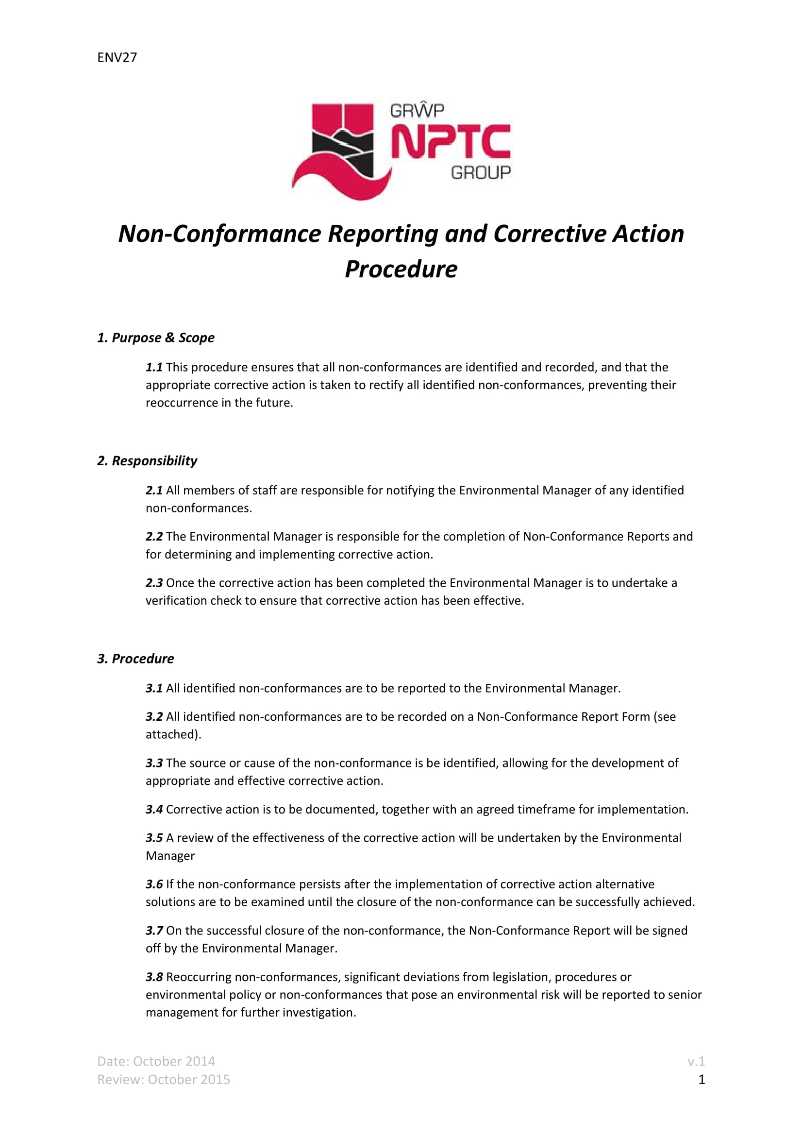 non conformance reporting and corrective action procedure example 1