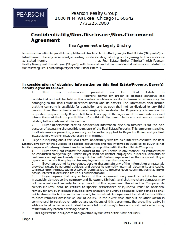 12 Real Estate Confidentiality Agreement Examples Doc