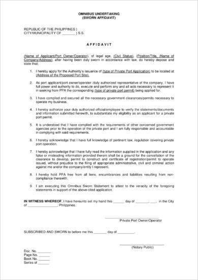 omnibus undertaking sworn affidavit form example1