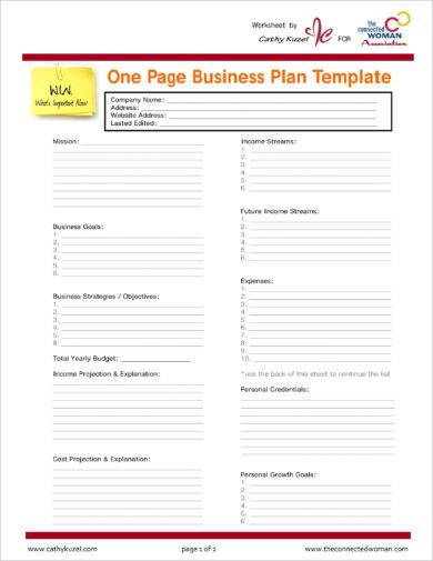 one page action plan template example1
