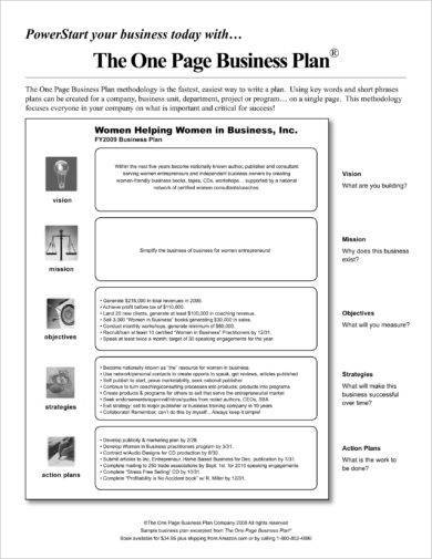 one page business action plan example1