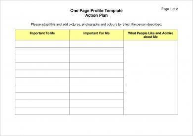 One Page Profile Template Action Plan Example1