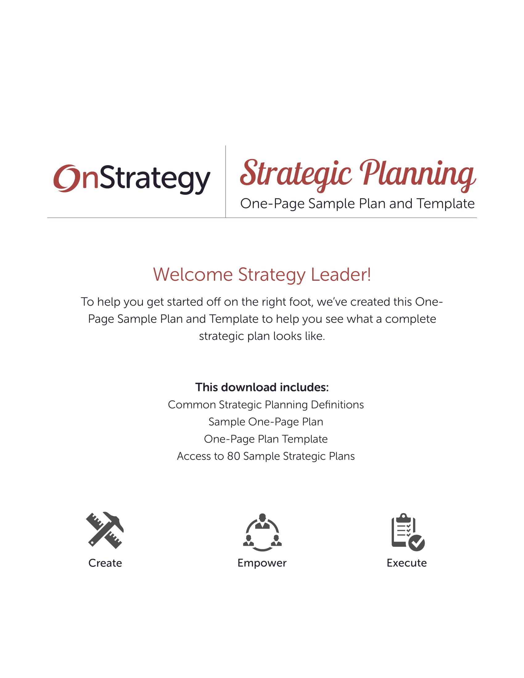 one page strategic action plan template example 1