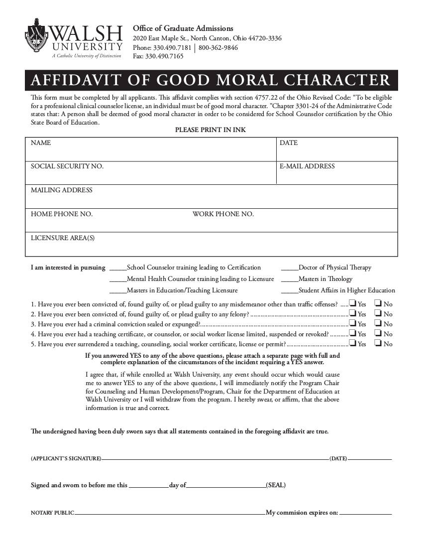 one page affidavit of good moral character