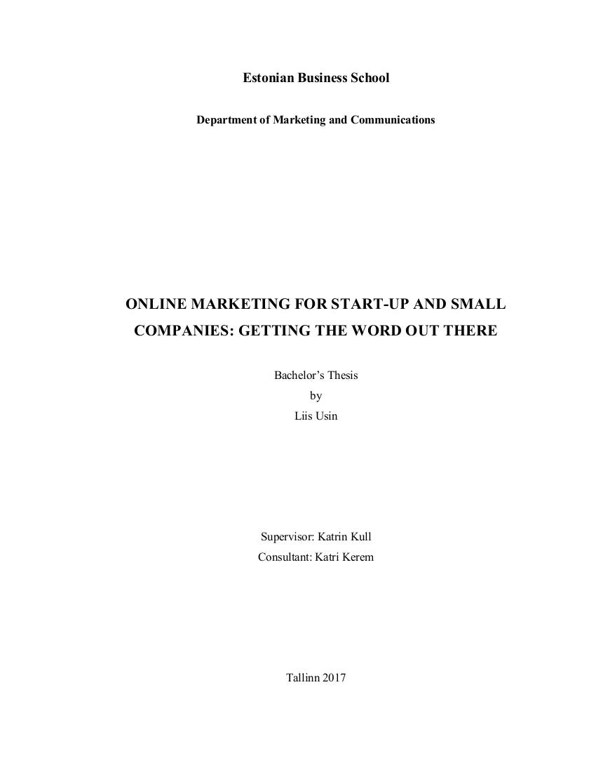 online marketing for start up and small companies