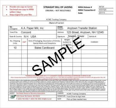 original straight bill of lading sample1