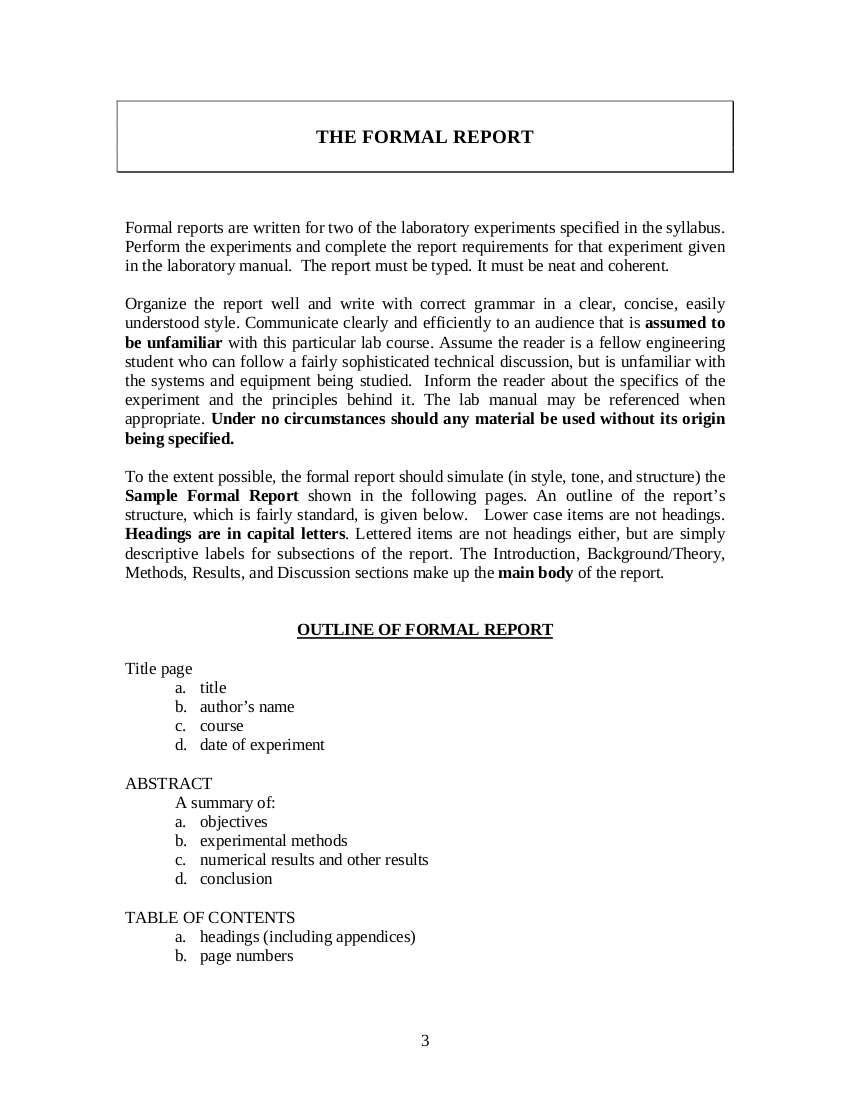 outline of formal report template example